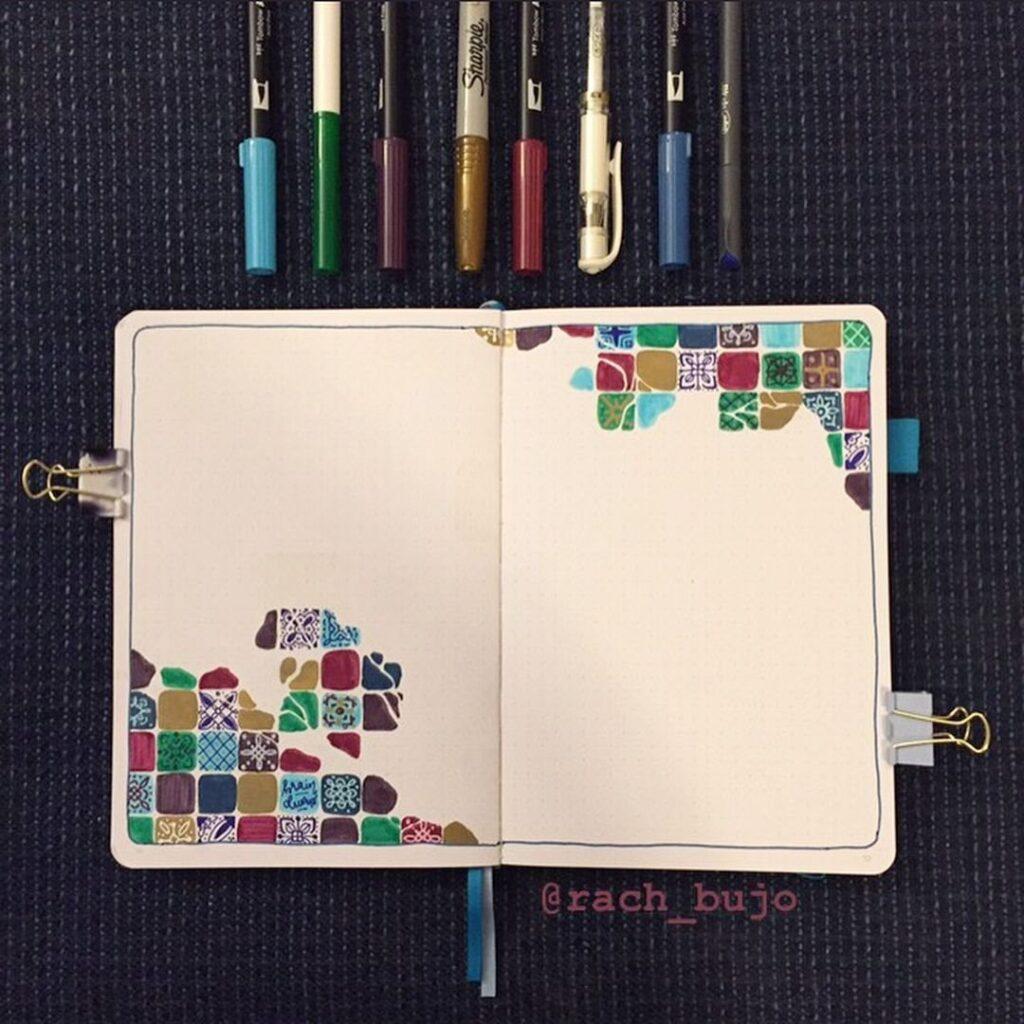 Mosaic Spread March Bullet Journal Idea