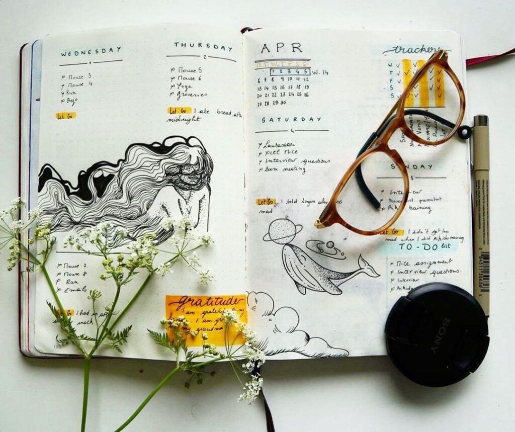 Mythical April Bullet Journal Spread