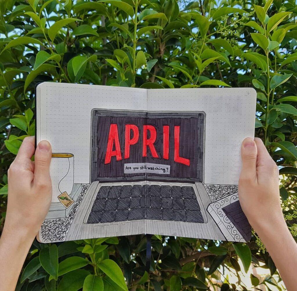 Netflix April Bullet Journal Idea