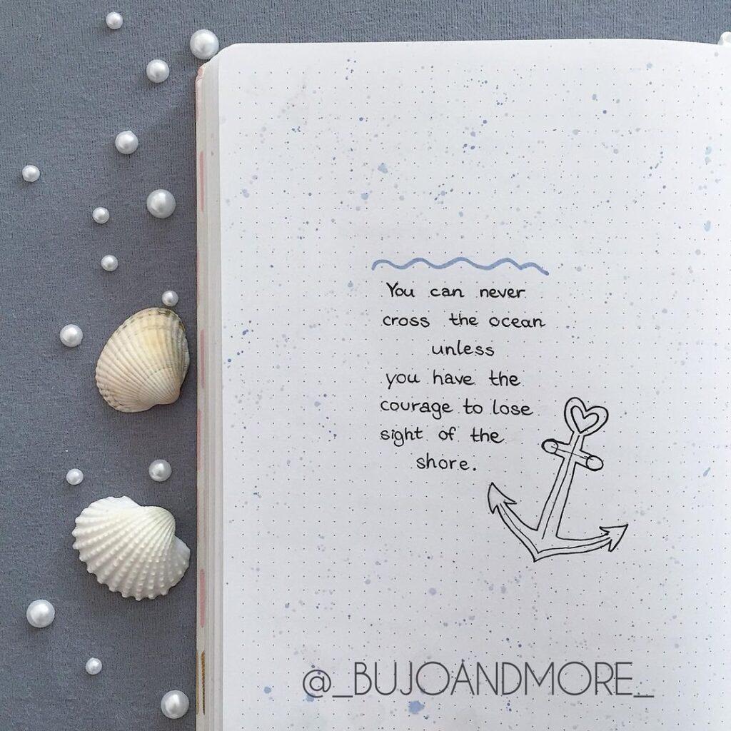 Ocean Quote Bullet Journal Idea