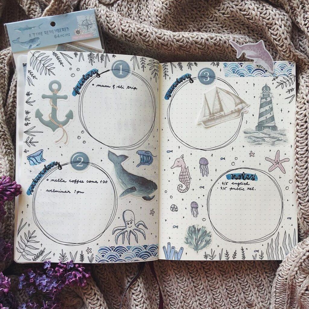 Ocean Theme April Bullet Journal Idea
