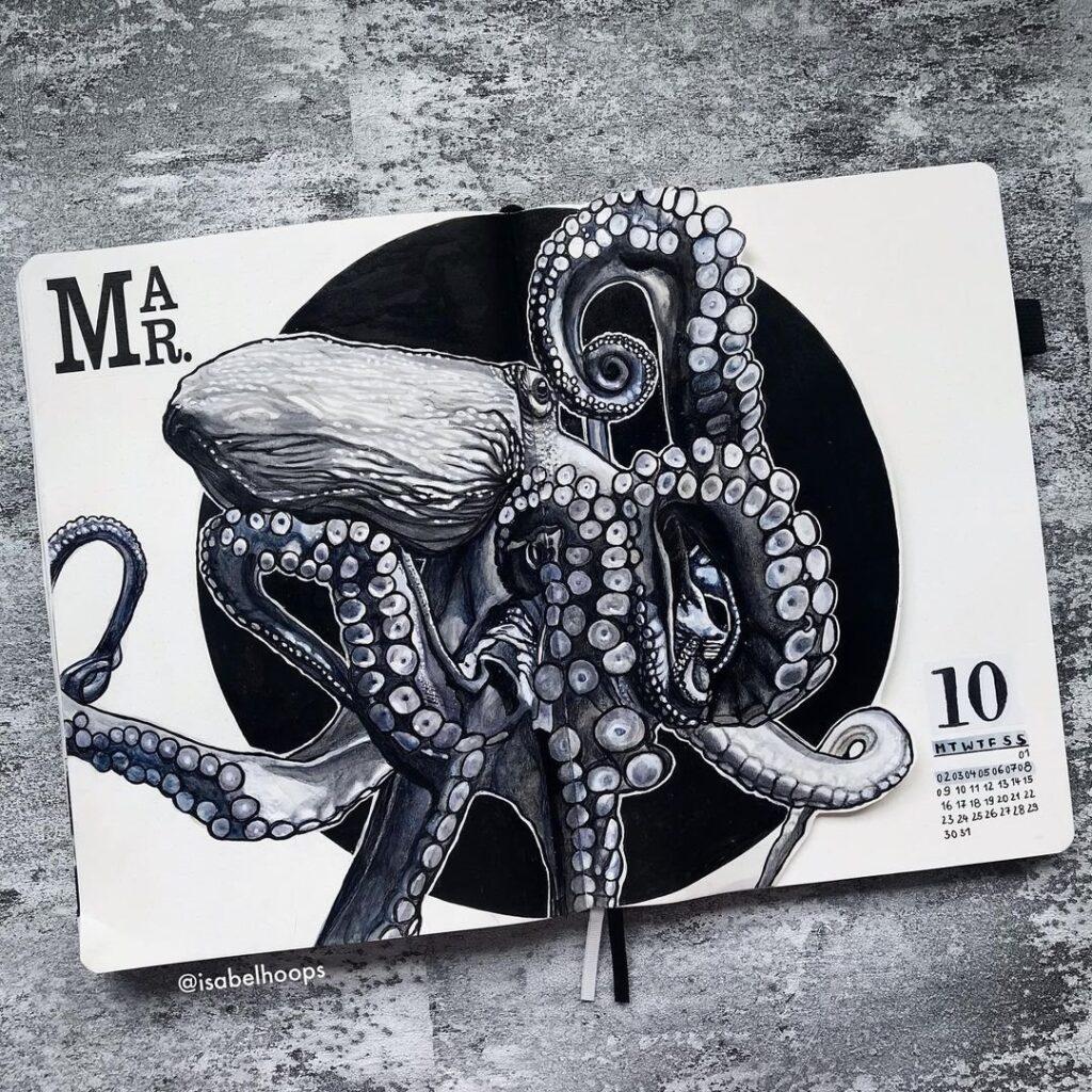 Octopus March Bullet Journal Spread