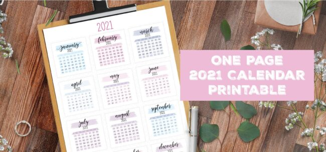 One Page 2021 Calendar Printable