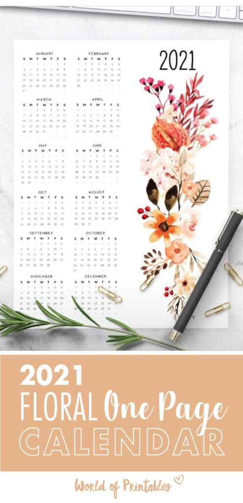 One Page Calendar 2021 Floral Free Printable