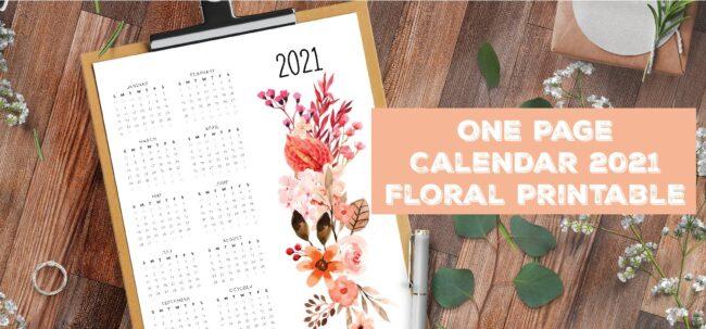 One Page Calendar 2021 Floral Printable