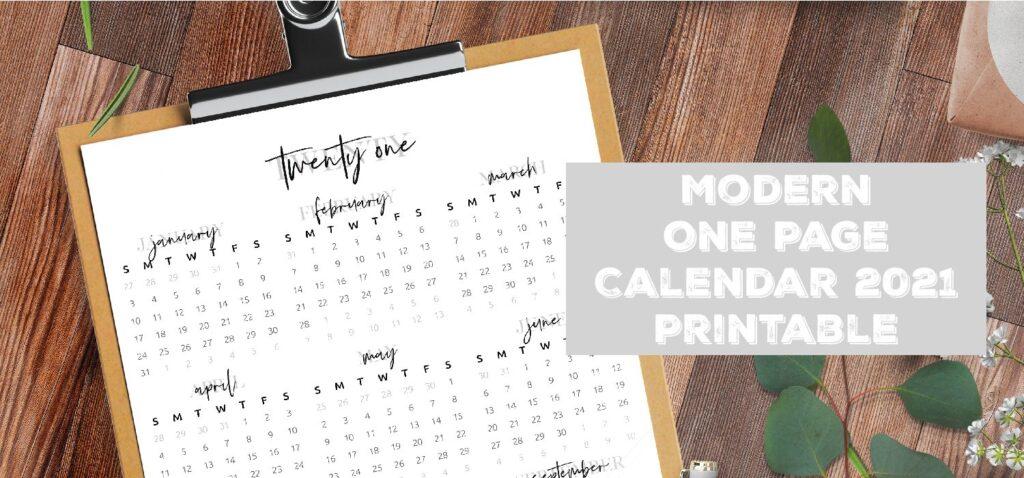 One Page Calendar 2021 Modern Printable