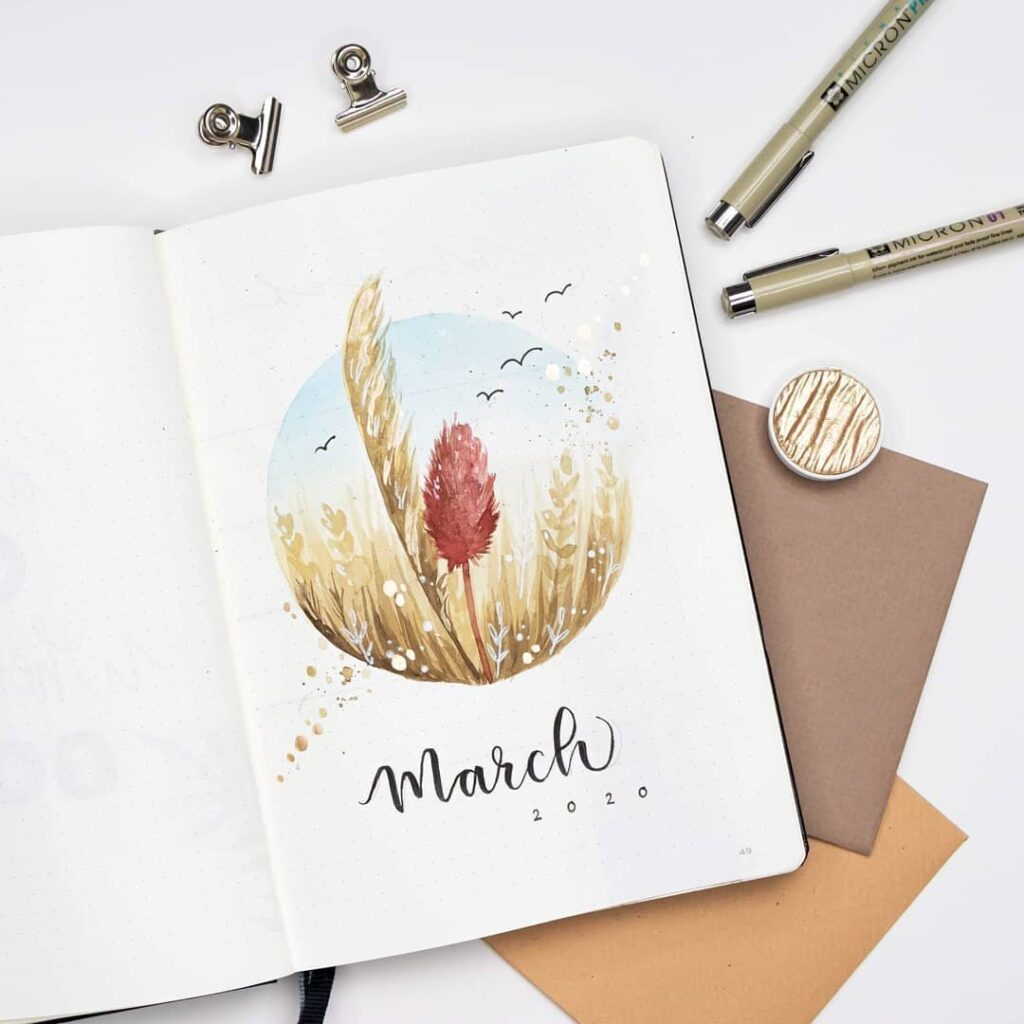 monthly cover for bullet journal