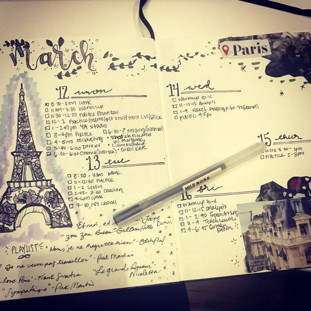 Paris March Bullet Journal Idea