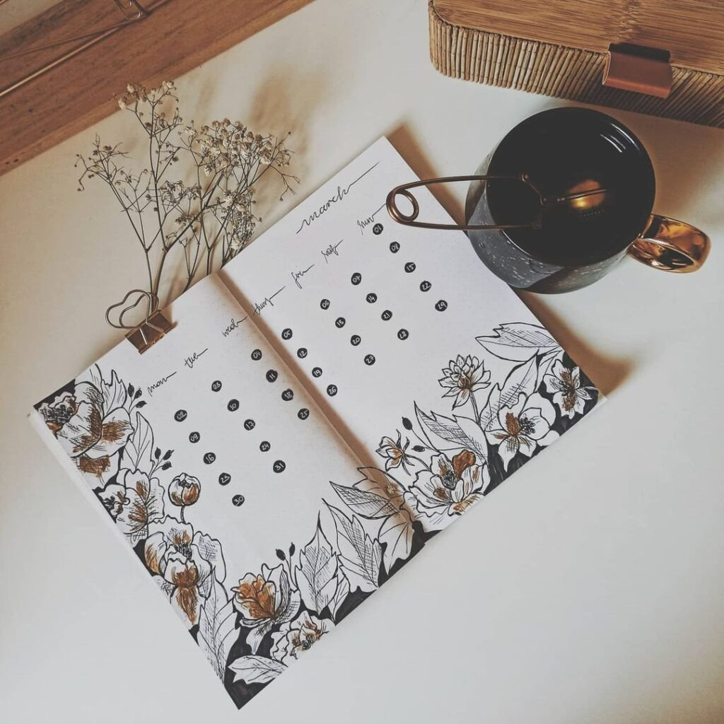 Peony March Bullet Journal Spread