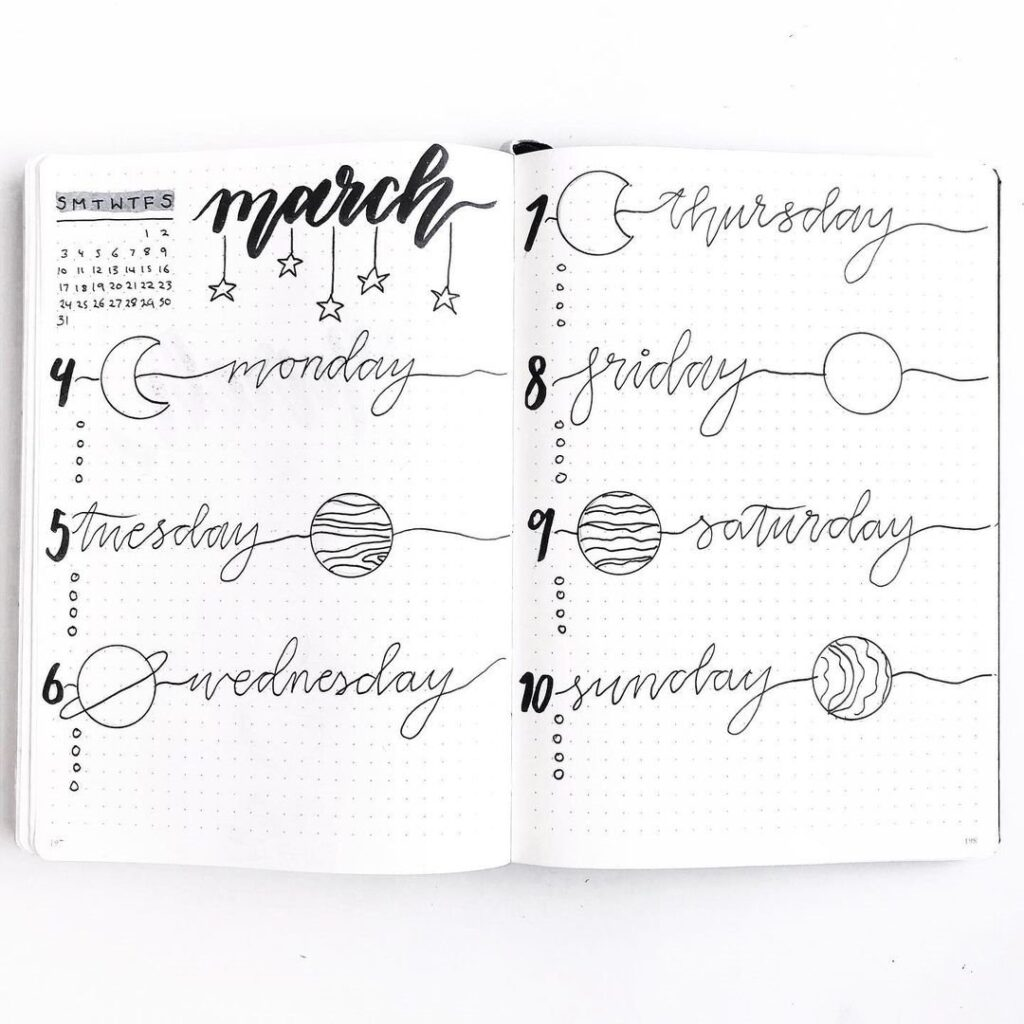 Planets March Bullet Journal Idea