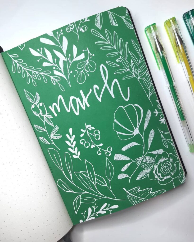 Plants and Flowers March Bullet Journal Cover