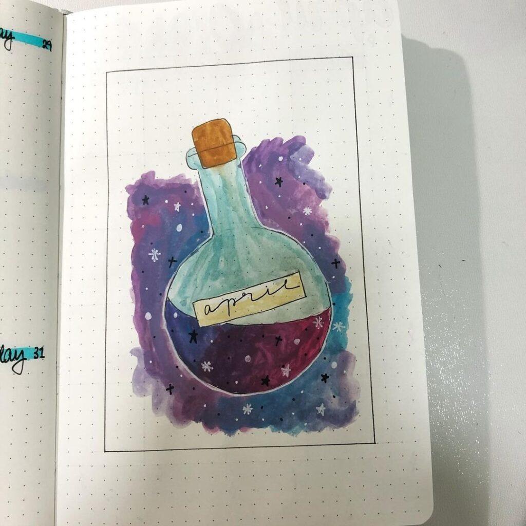 Potion Bottle April Bullet Journal Cover