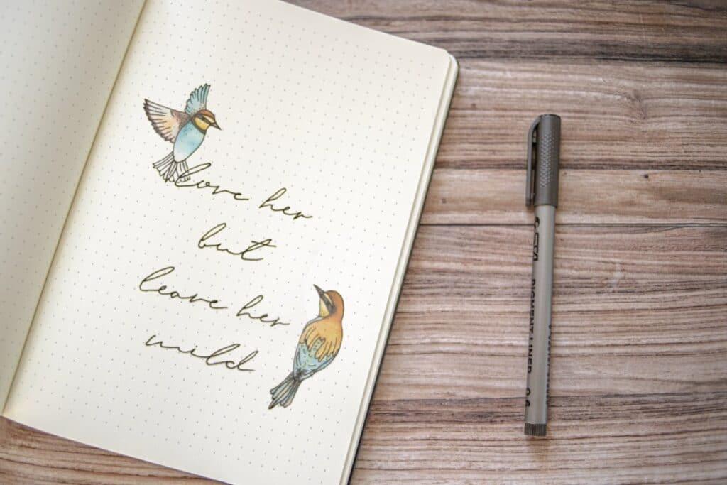 Pretty Birds Bullet Journal Idea - World of Printables