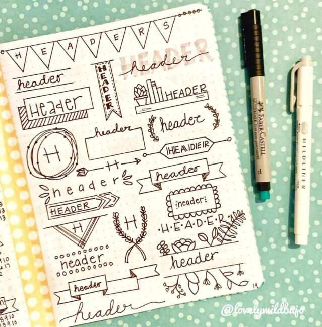 Pretty Bullet Journal Header Doodles
