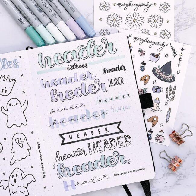 Pretty Bullet Journal Header Ideas