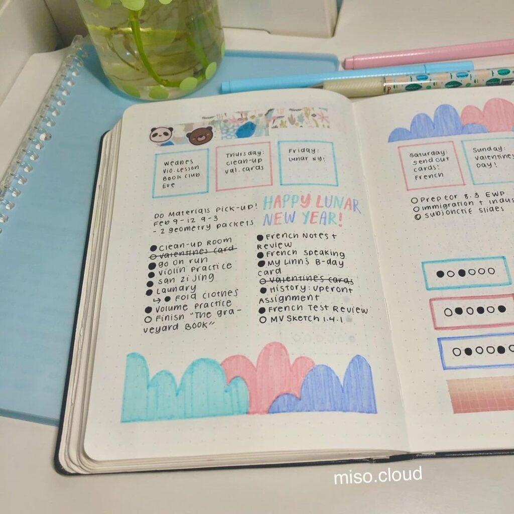 Pretty Cloud Bullet Journal Idea