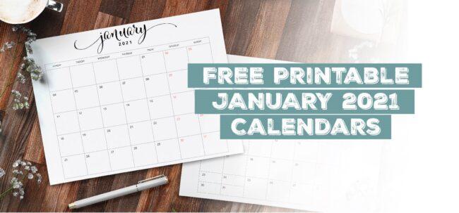 Printable January 2021 Calendar Template