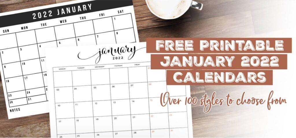 Printable January 2022 Calendar Template
