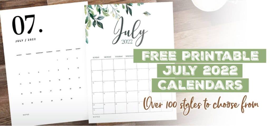 Printable July 2022 Calendar Template
