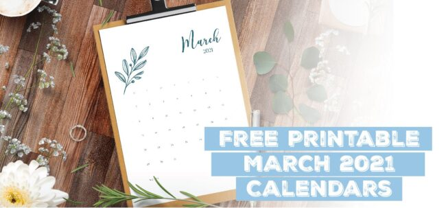 Printable March 2021 Calendar Template
