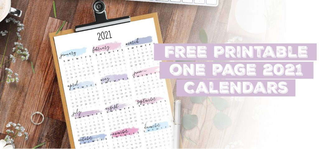 Printable One Page 2021 Calendar Template