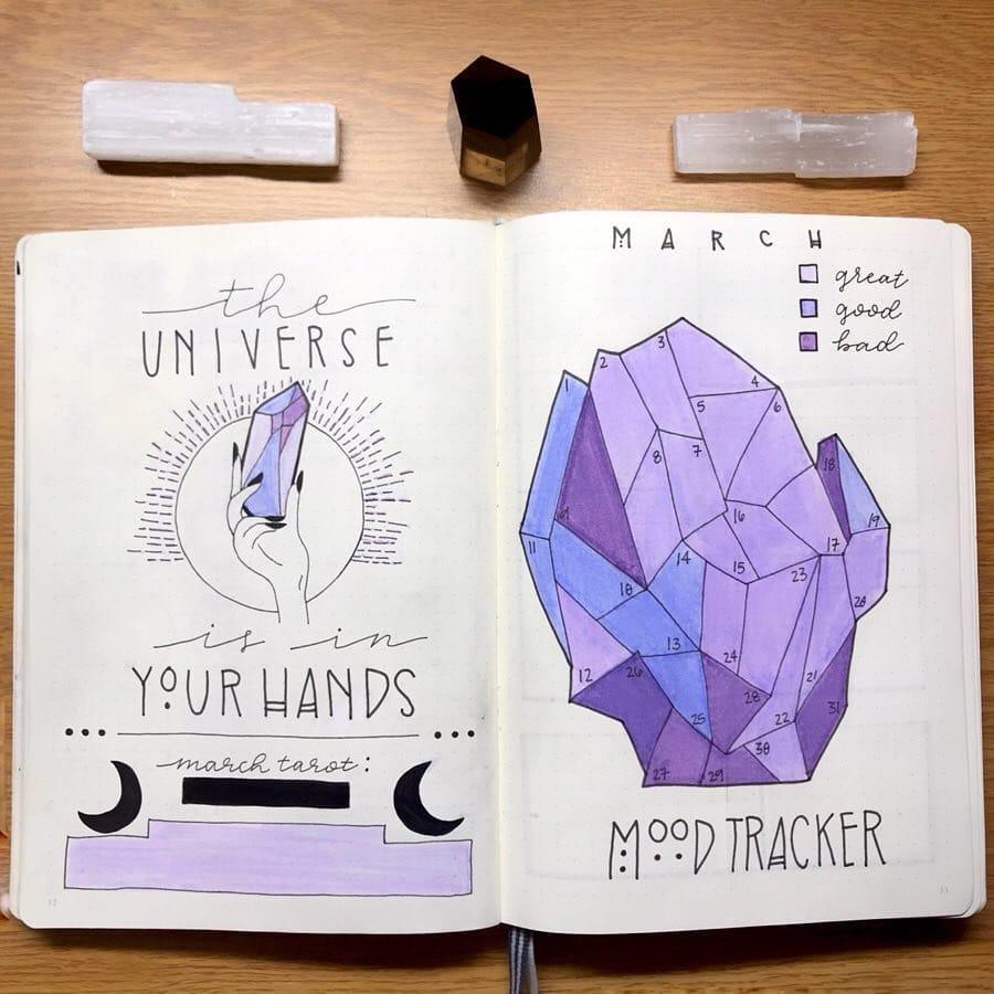 Purple Tarot Card March Bullet Journal Spread