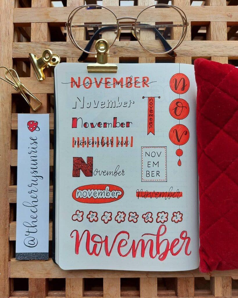 Red November Bullet Journal Headers