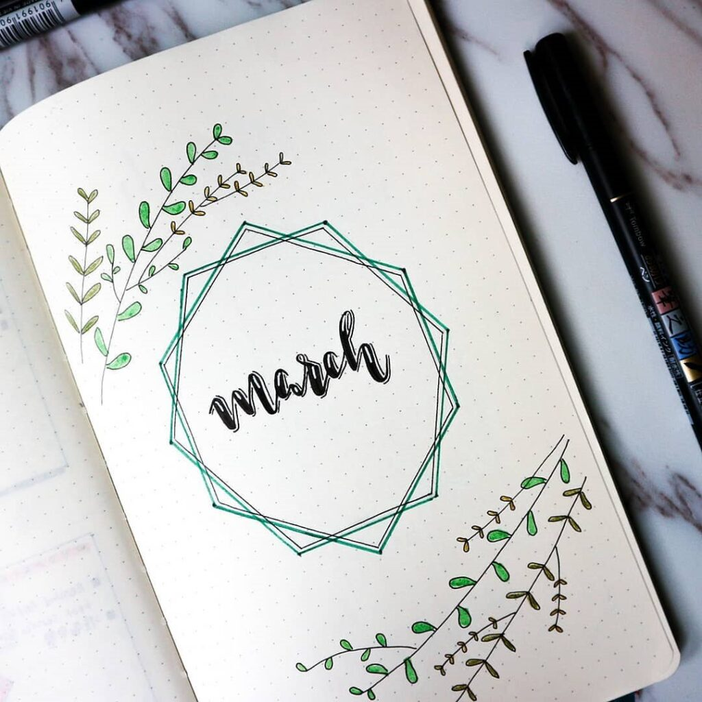 cover page ideas for march bujo