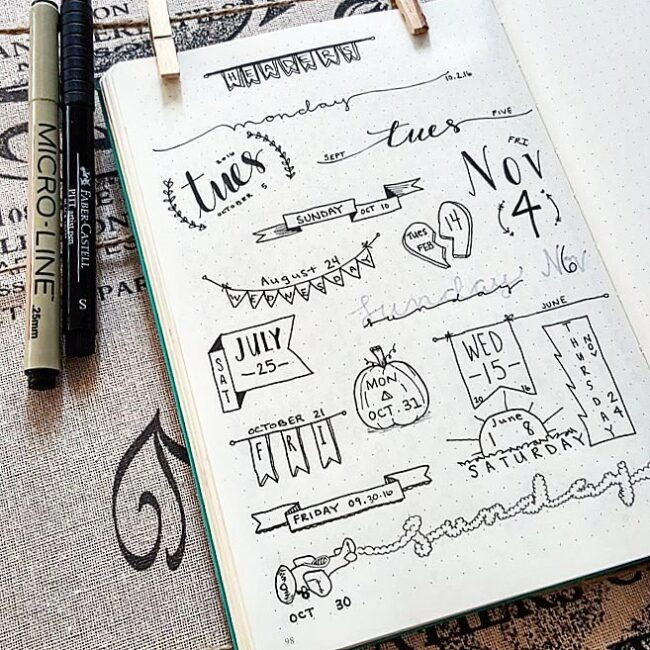 Simple Bullet Journal Header Doodle Ideas