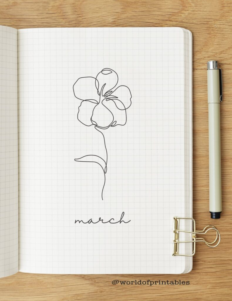 Simple Floral Line Drawing March Bullet Journal Cover