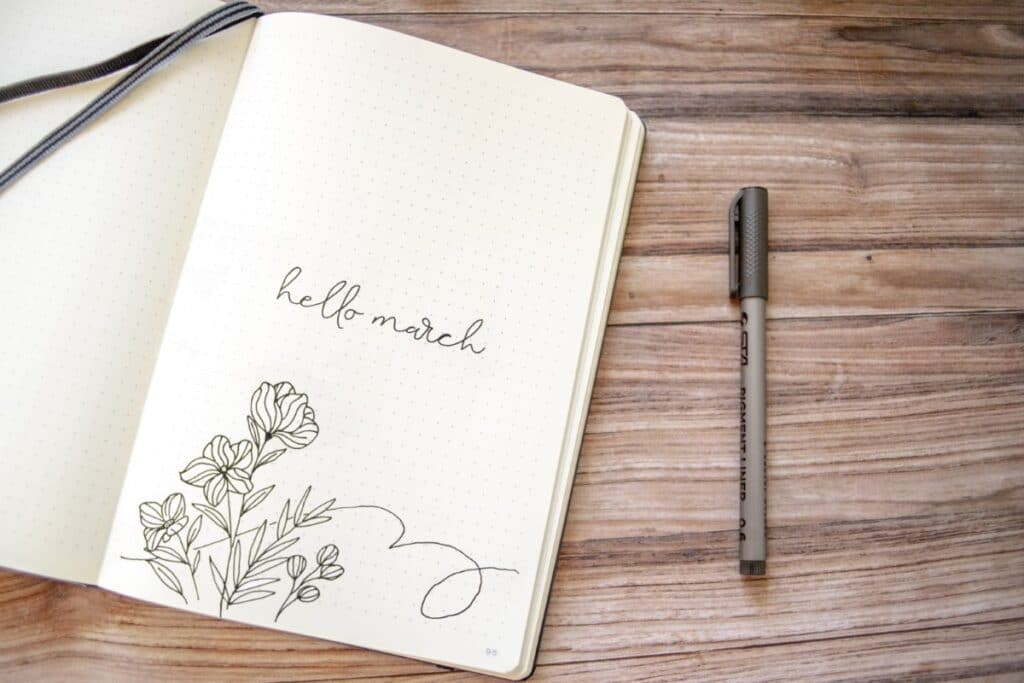 Simple Floral March Bullet Journal Cover Inspiration