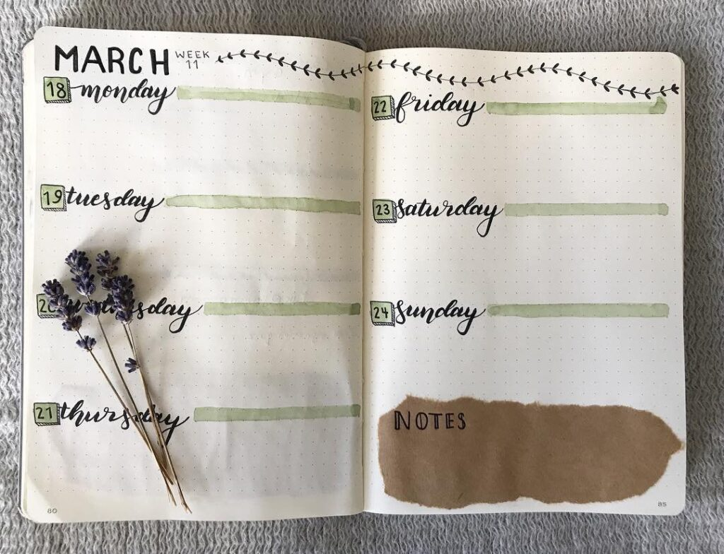 Simple March Bullet Journal Spread