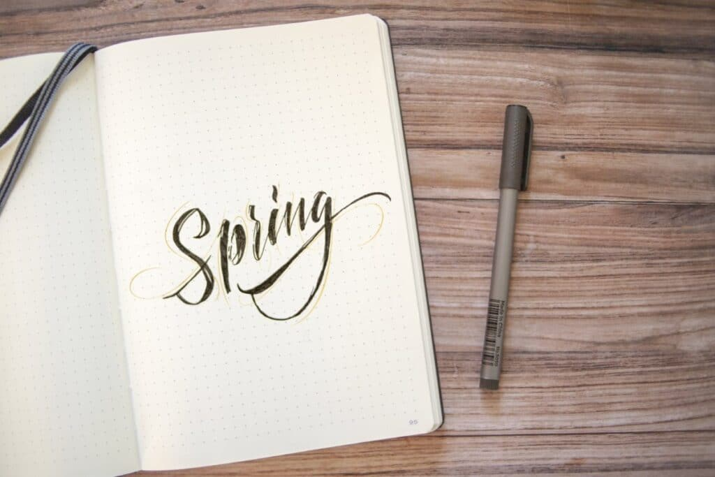 Simple Spring Lettering Bullet Journal Idea - World of Printables