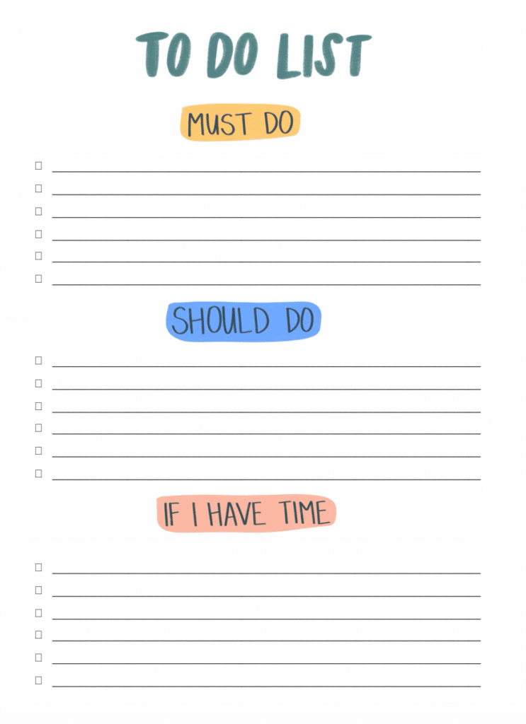 Free Printable Simple To Do List Template