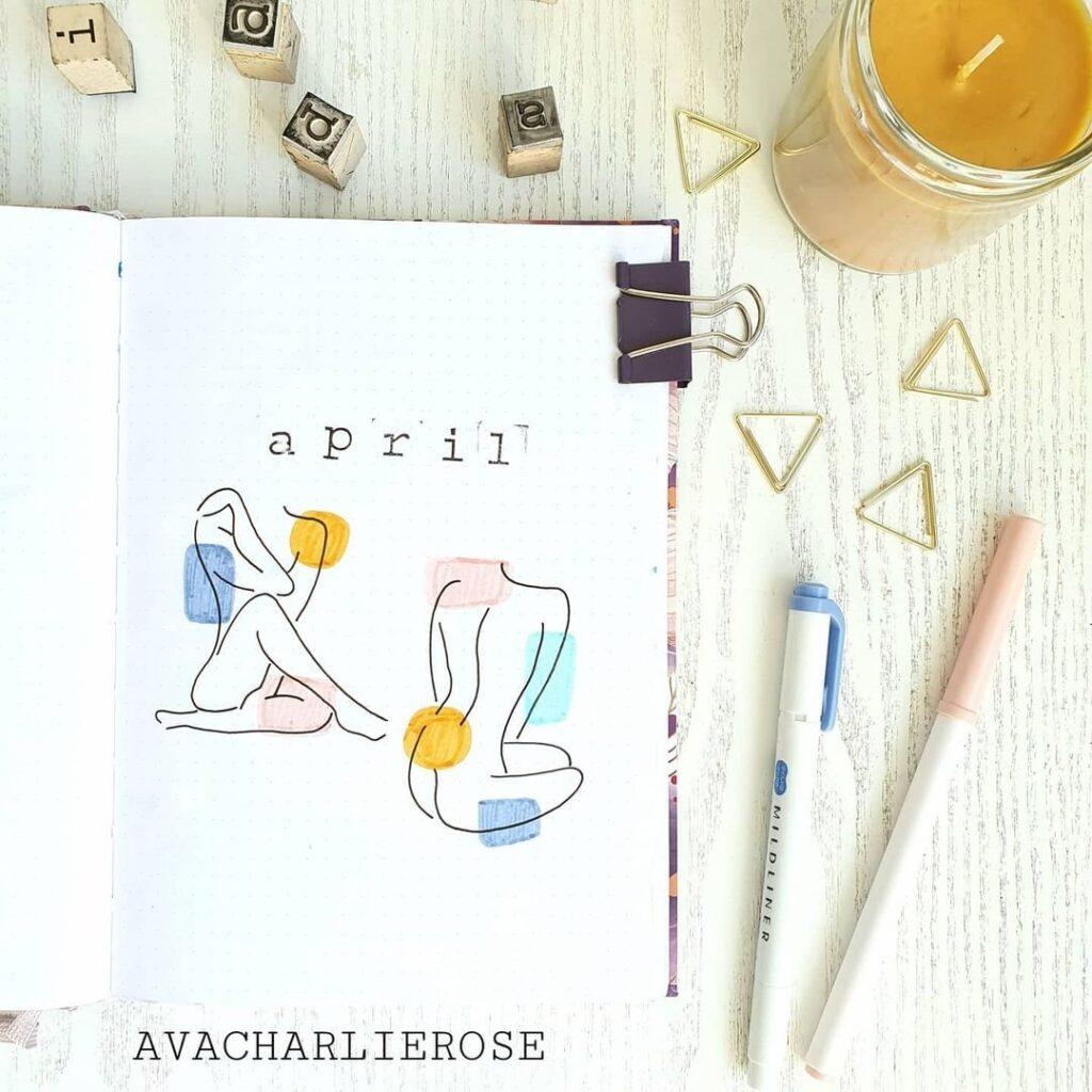Simplistic Self Love April Bullet Journal Cover