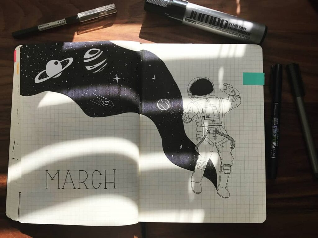 Space March Bullet Journal Cover