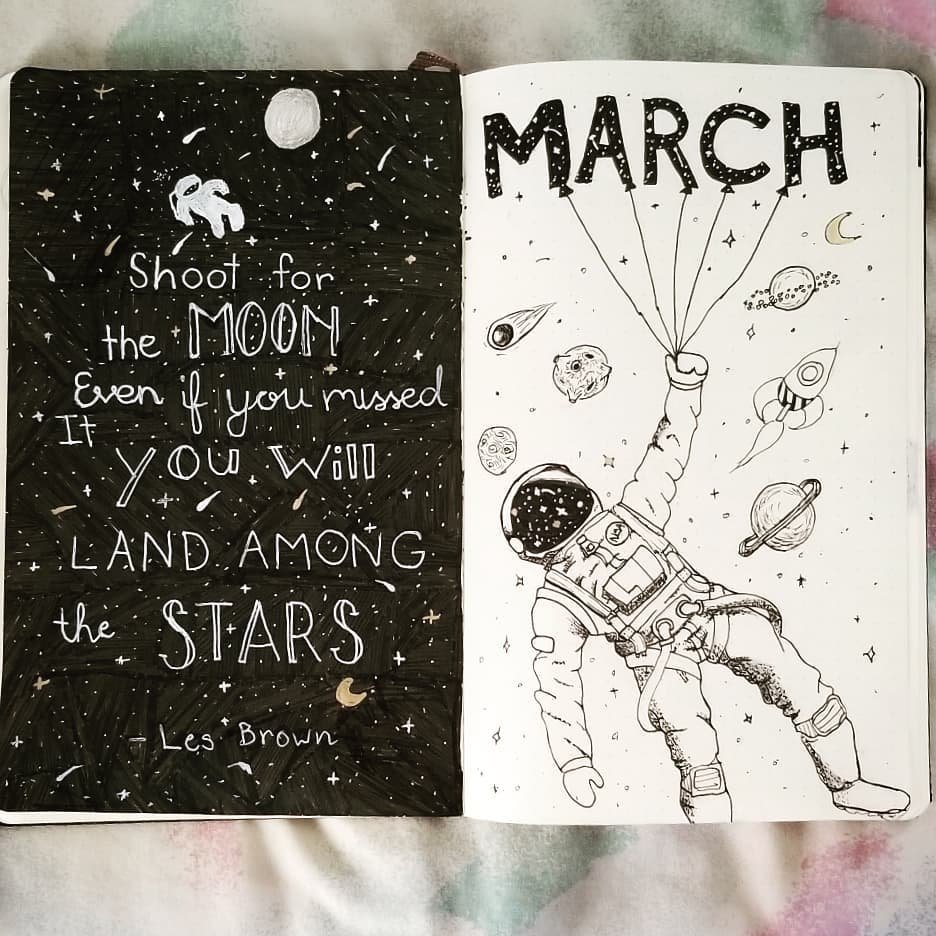 Space Theme March Bullet Journal Spread