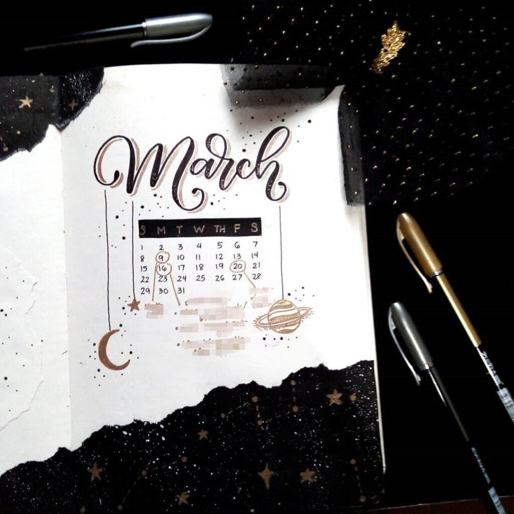 Starry Night March Bullet Journal Idea