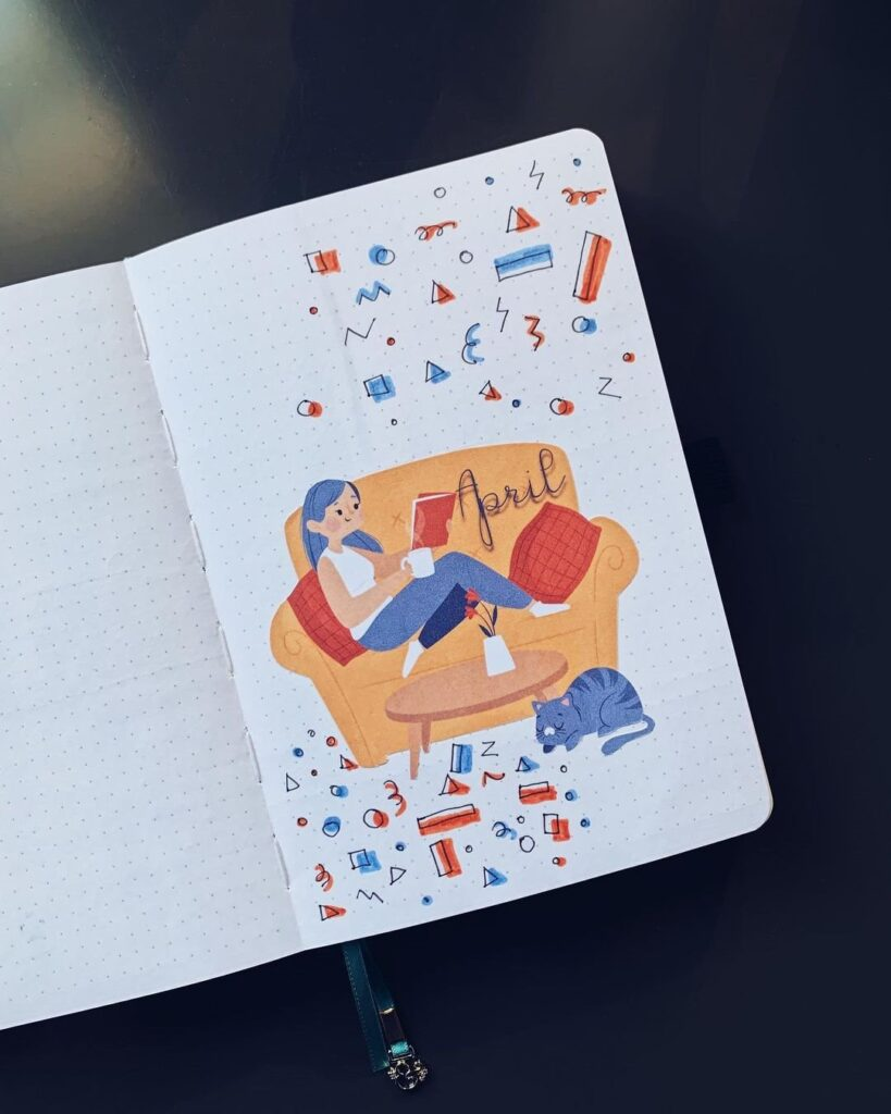 Stay at Home April Bullet Journal Cover Idea