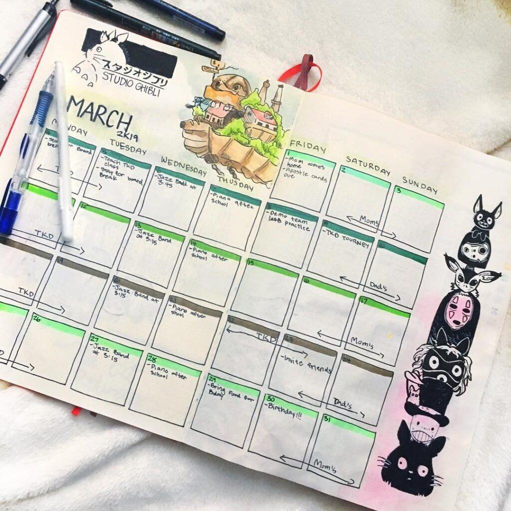 Studio Ghibli March Bullet Journal Spread