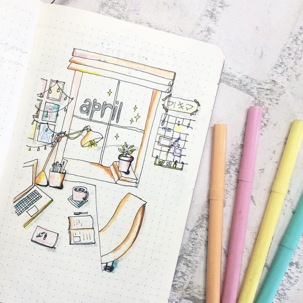 Study Space April Bullet Journal Cover Idea