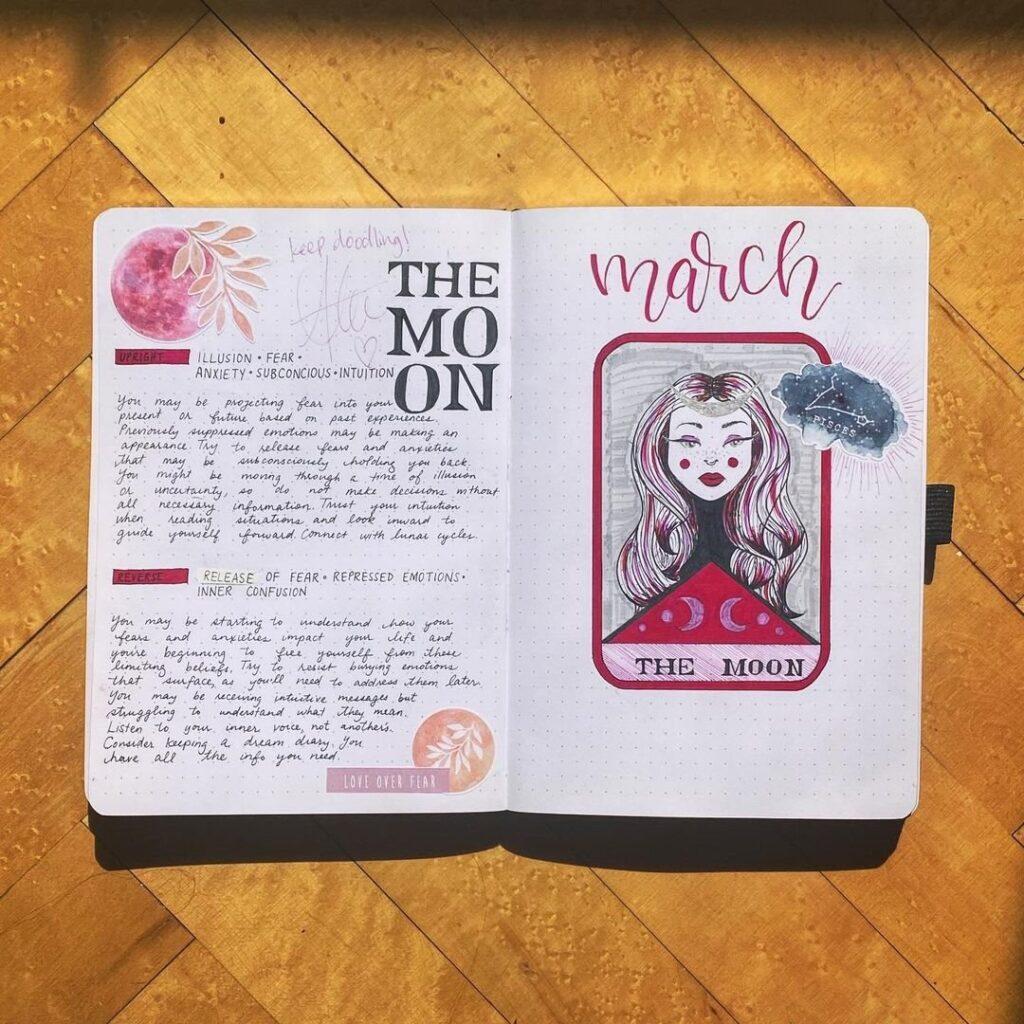 Tarot Card March Bullet Journal Spread
