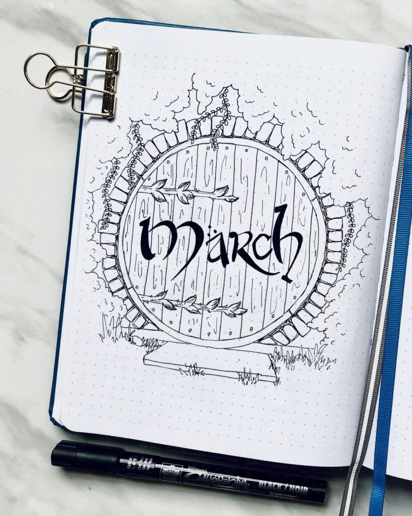 The Hobbit March Bullet Journal Cover