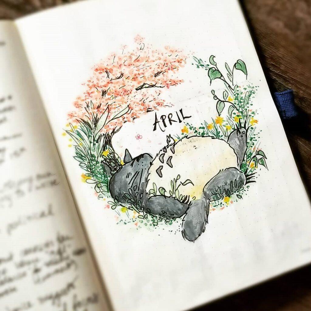 Totoro Sleeping April Bullet Journal Cover
