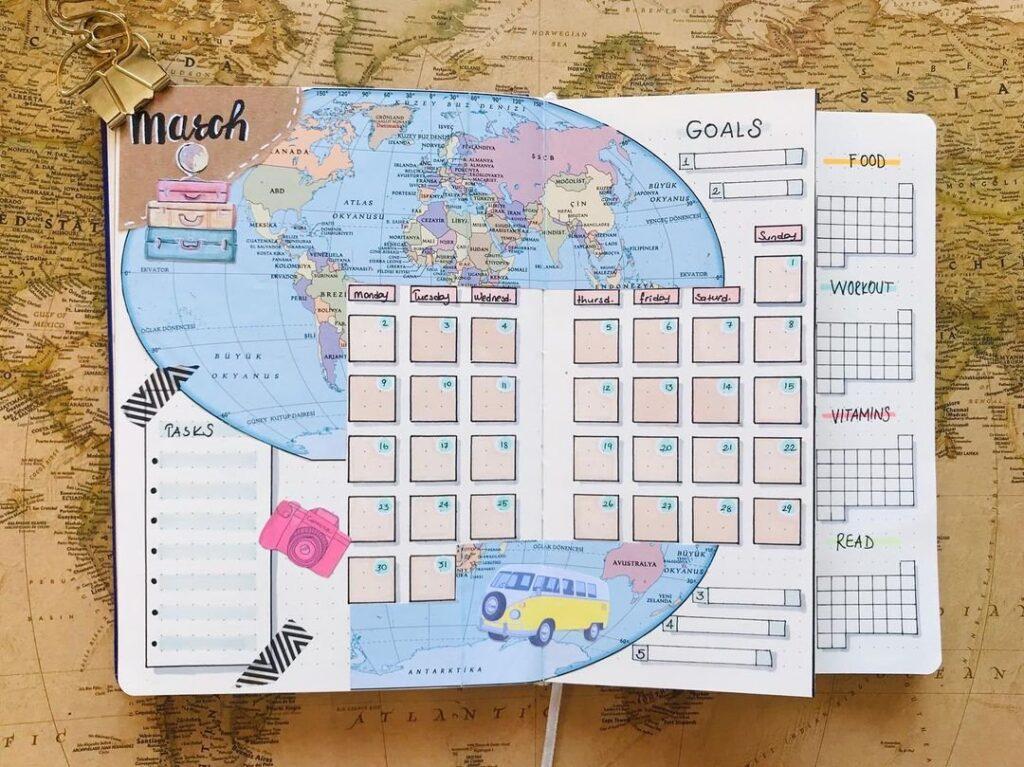 Travel Bujo Spread idea