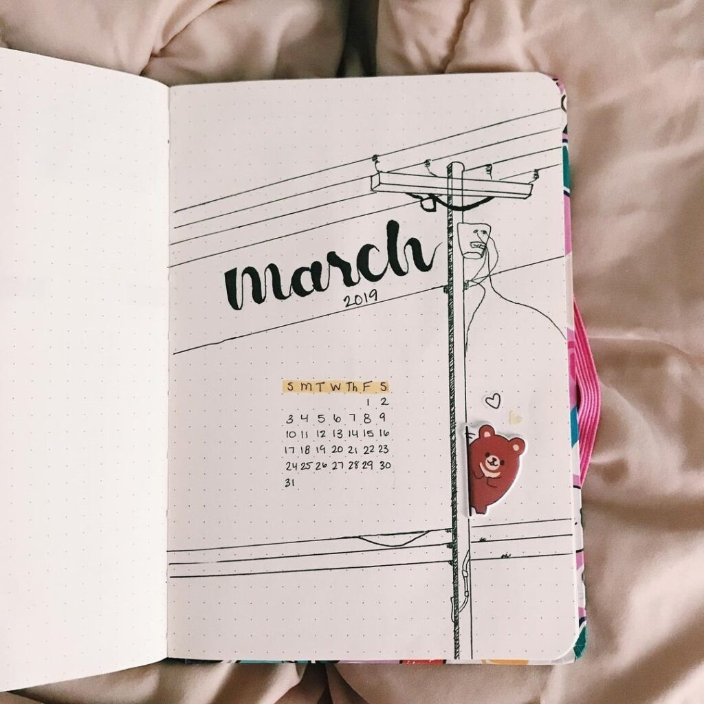 Travel March Bullet Journal Cover pages