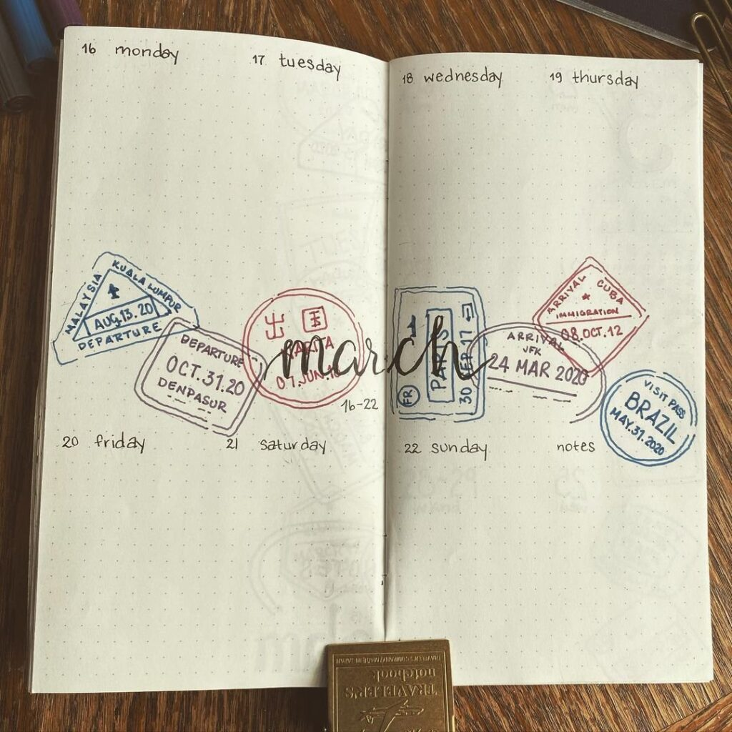 Travel Stamp March Bullet Journal Spread