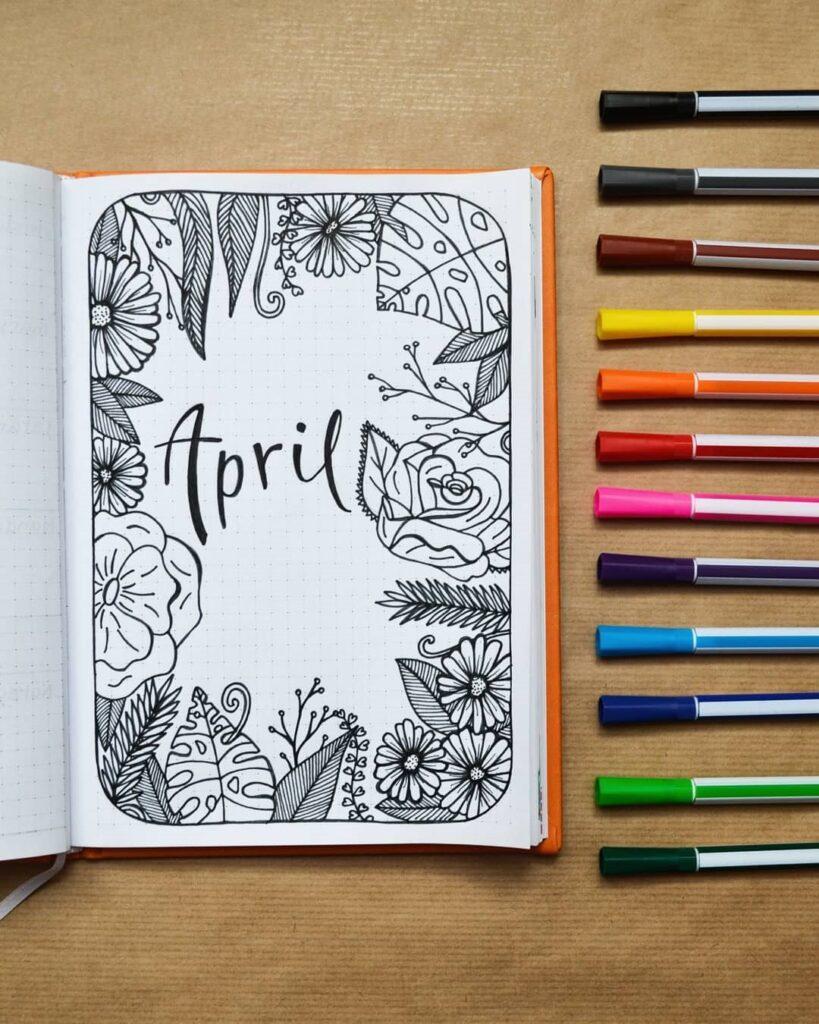 Tropical Botanical April Bullet Journal Cover
