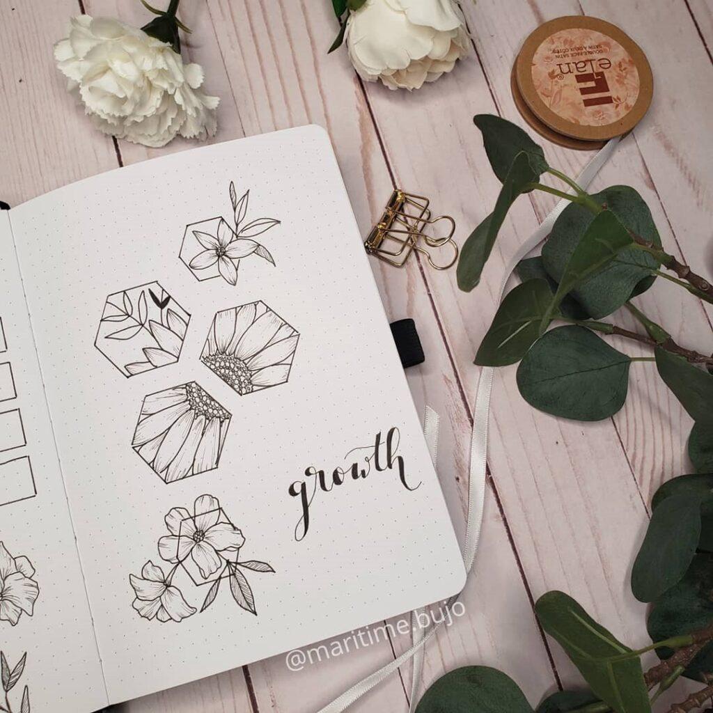 Unique Floral Growth Bullet Journal Idea