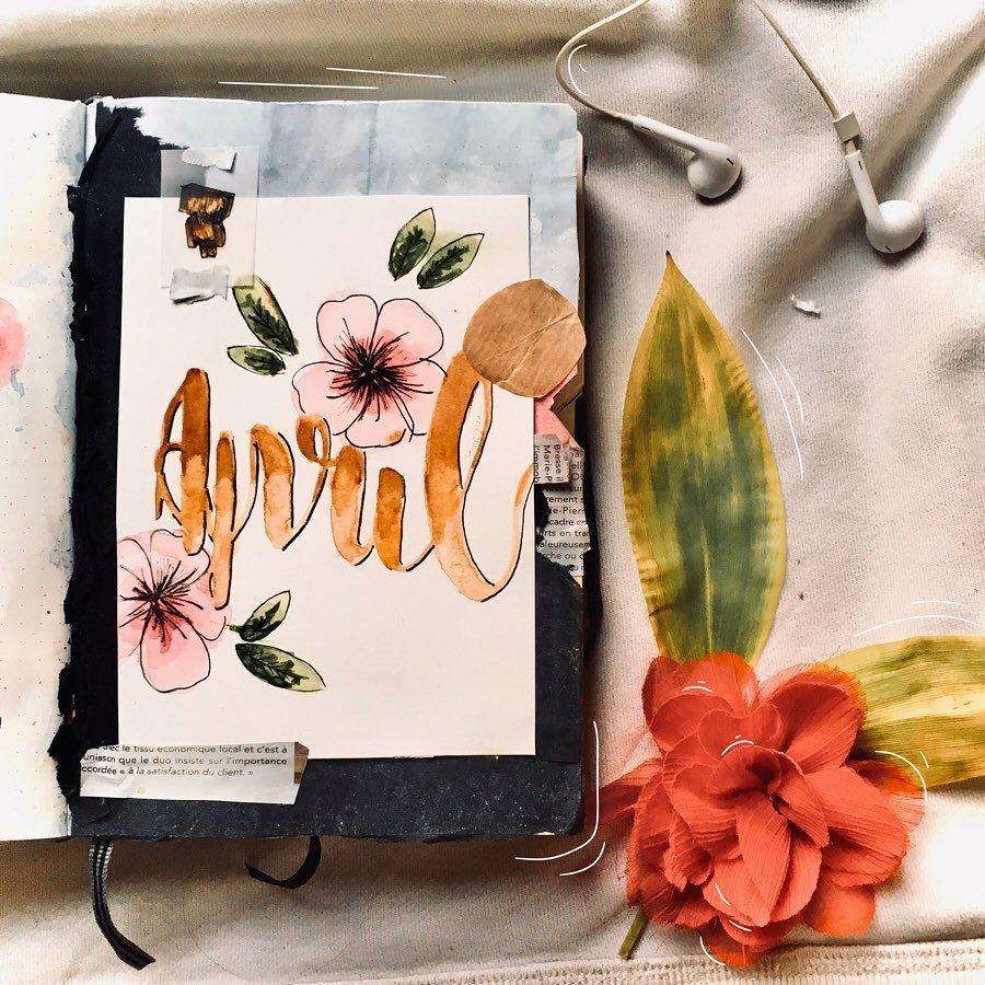 Watercolor April Bullet Journal Cover